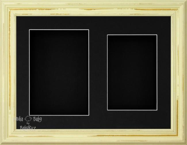 "11.5x8.5"" Shabby Chic 3D Display Frame 2 Hole Black Mount Black Back"