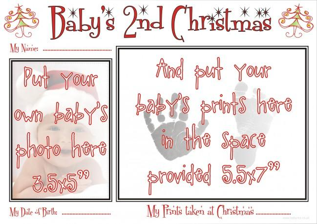 inkless_kits/Babys 2nd Christmas Prints Kit Hand Footprints how to complete