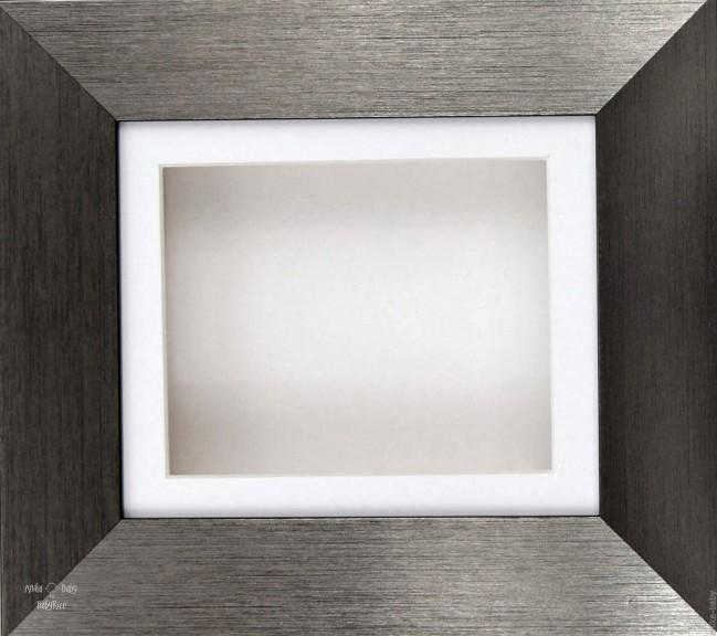 Brushed Pewter Shadow Box Display Frame / White mount