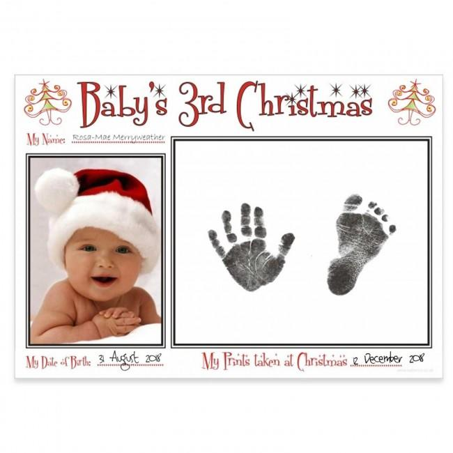 Baby's 3rd Christmas Record Baby's Footprints & Handprints First Xmas