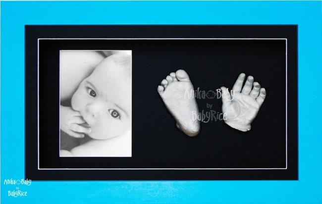 Baby Boy Gift, Casting Kit, Blue Frame, 3D Silver Footprints Handprints
