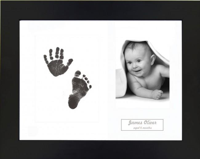 New Baby Gift Inkless Prints, Hand & Footprint Kit, Black Frame