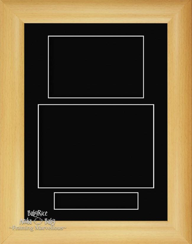 "11.5x8.5"" Beech Effect 3D Display Frame 3 Hole Black Mount Portrait"