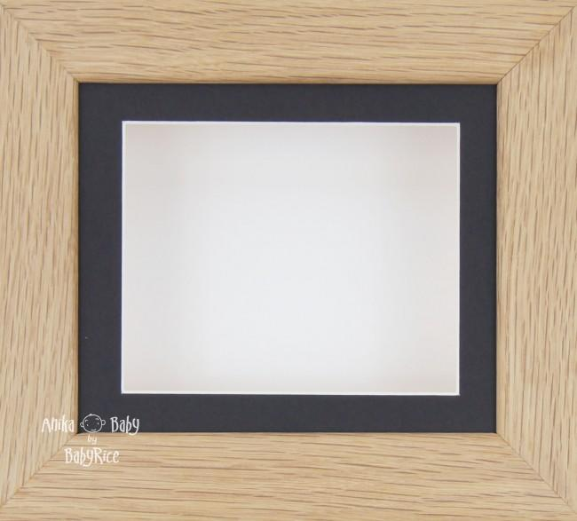 Solid Oak Wooden Shadow Box Display Frame / Black & White