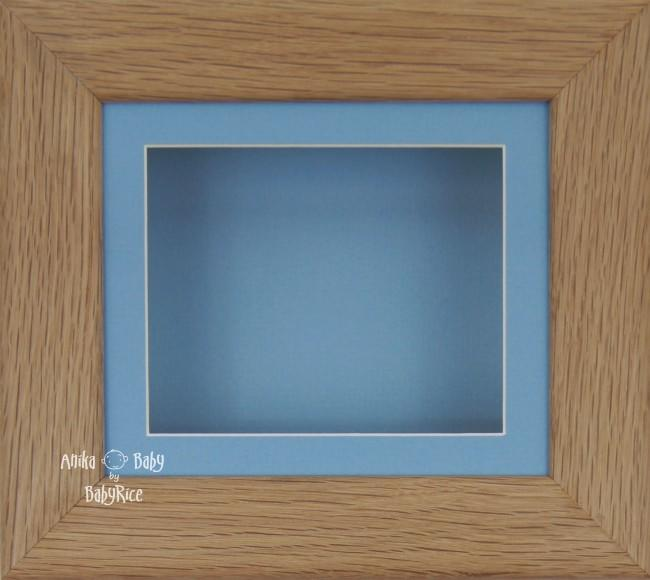 Solid Oak Wood 3D Shadow Box Display Frame / Blue Mount