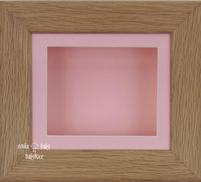 Solid Oak Wood 3D Shadow Box Display Frame / Pink