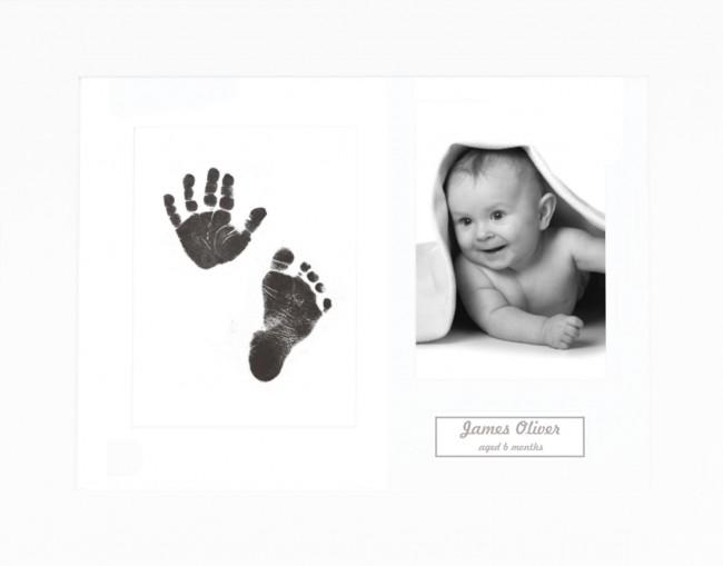 New Baby Gift Inkless Prints, Hand & Footprint Kit, White Frame