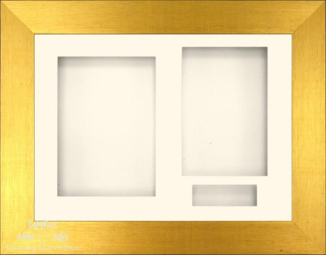 Brushed Gold 3D Display Box Frame Cream