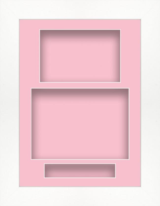 11.5x8.5 White Deep Box Display Frame Pink Portrait