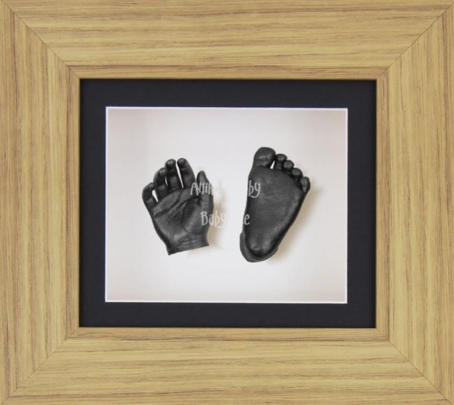 Baby Casting Kit Oak Effect Frame Black White Display Pewter paint