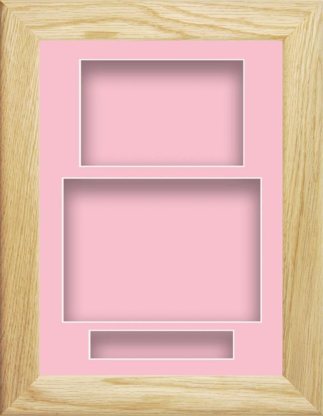 11.5x8.5 Solid Oak Wooden Deep Box Display Frame Pink Portrait