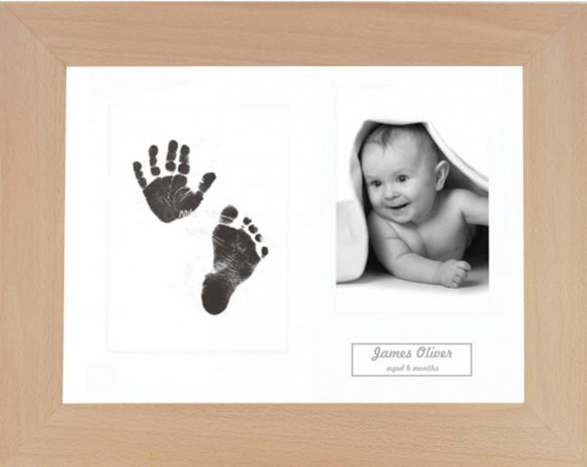 New Baby Gift Inkless Prints, Hand & Footprint Kit, Real Beech Frame