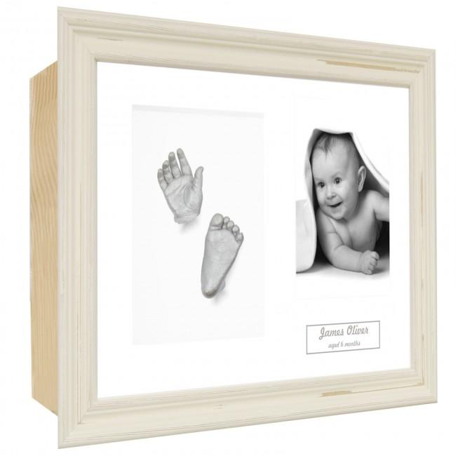 Baby Casting Kit / Shabby Chic Cream Frame / White / Silver Paint
