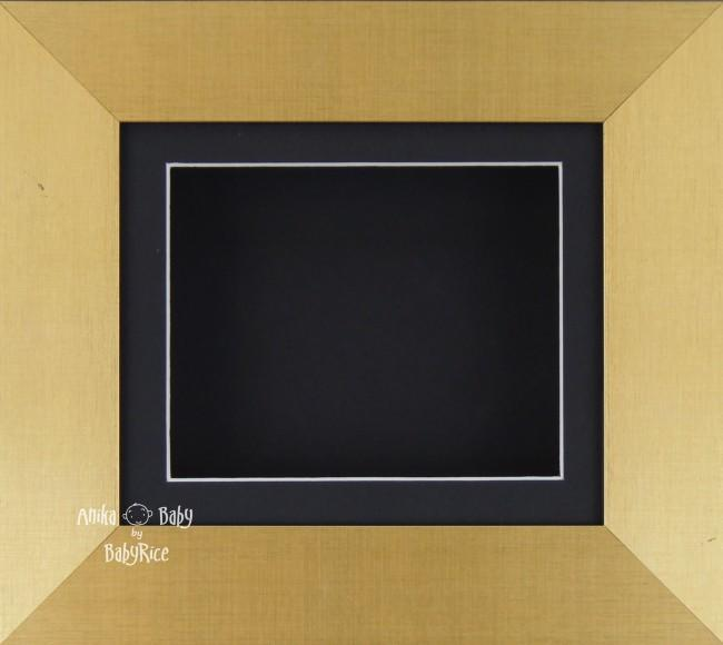 "6x5"" Brushed Gold display frame / Black mount & Backing"