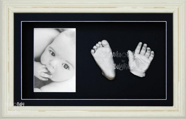 Baby Casting Kit / Shabby Style Cream Frame / Silver Hands Feet Casts