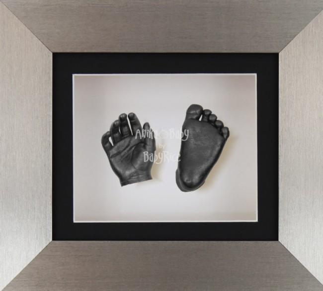 Baby Casting Kit Brushed Pewter Frame Black White Display Pewter paint