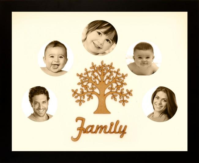 Large Family Photo Tree of Life 5 Picture Frame Black 50x40cm