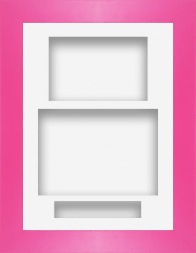 12x9 Pink Deep Box Display Frame White Portrait