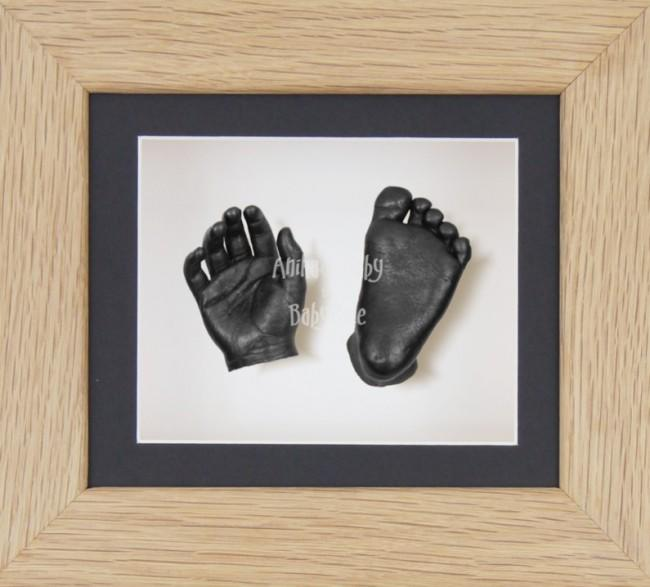 Baby Casting Kit Solid Oak Frame Black White Display Pewter paint