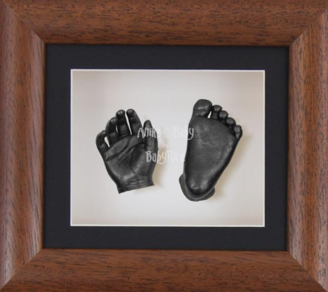 Baby Casting Kit Dark Wood Effect Frame Black White Display Pewter paint