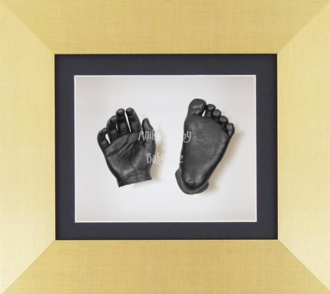 Baby Casting Kit Brushed Gold Frame Black White Display Pewter paint
