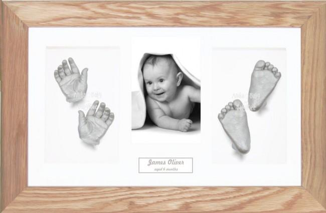 Solid Oak Wooden Frame, Baby Silver Casts Casting Kit Keepsakes