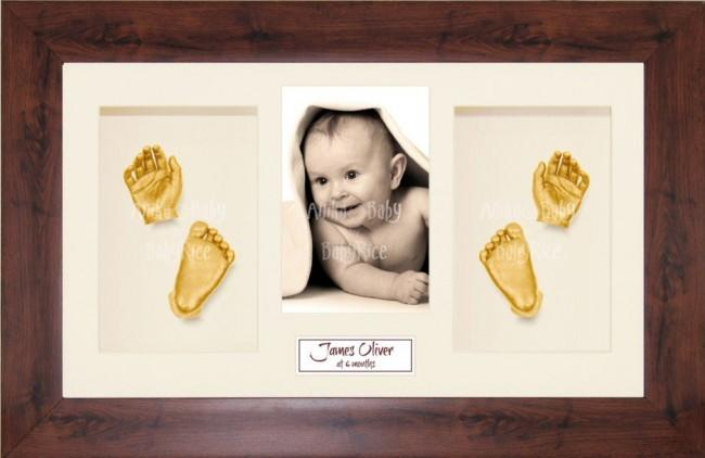 New Baby Casting Kit Gift, Mahogany effect frame, Gold Hands Feet