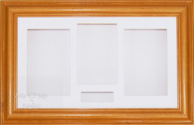Large Honey Pine Wood 3D Shadow Box Display Frame / White
