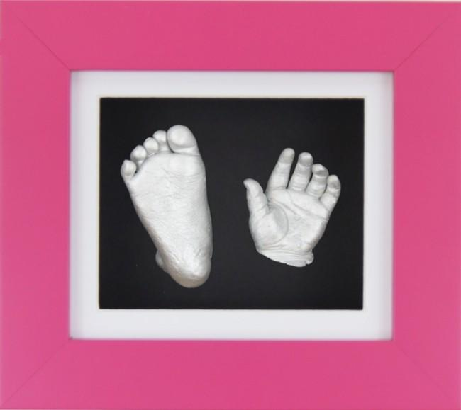 Baby Girl Gift 3D Casting Kit Pink Frame White Black Silver Casts