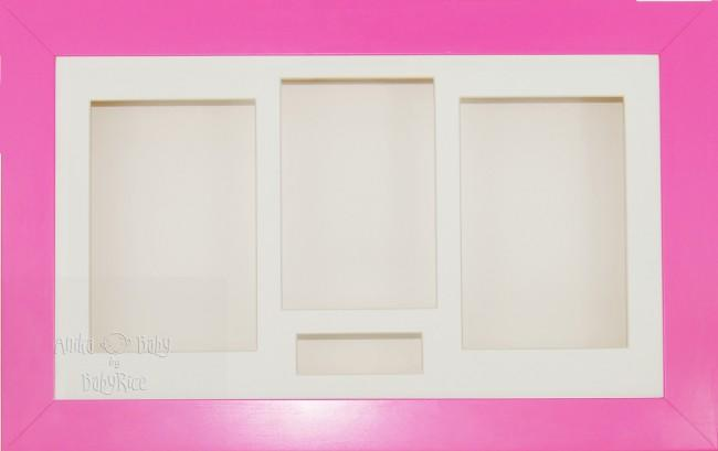 Large Pink 3D Shadow Box Display Frame / Cream