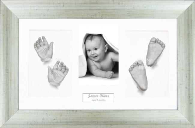 Large or Twins 3D Baby Casts Kit, Antique Silver Frame Hands Foot