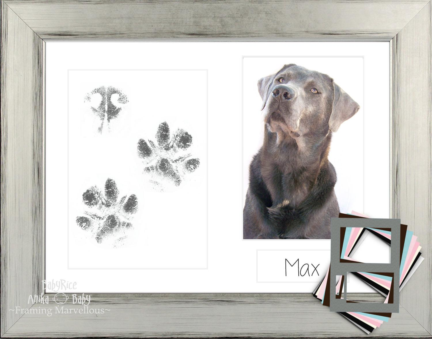 Dog Paw Print Kit Silver Frame Black Mount