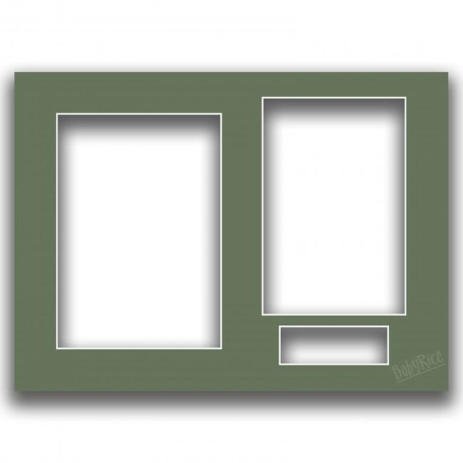Three Aperture Picture Frame Mount & Backing Card 12x9 Inches - Putting Green