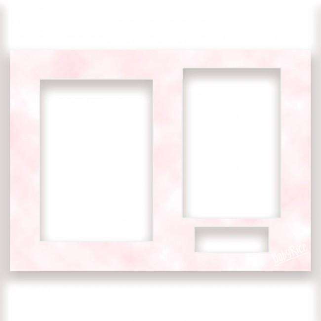 Three Aperture Picture Frame Mount 12x9 Inches - Mottled Pink