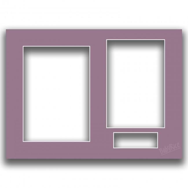 Three Aperture Picture Frame Mount & Backing Card 12x9 Inches - Parma Violet