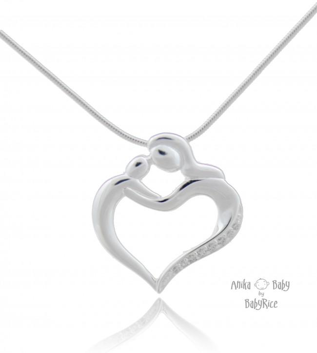 Sterling Silver Mother & Child Pendant Heart with Cubic Zirconia