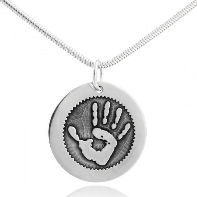 Silver Handprint Fingerprint Jewellery Personalised Circle Pendant Outtie