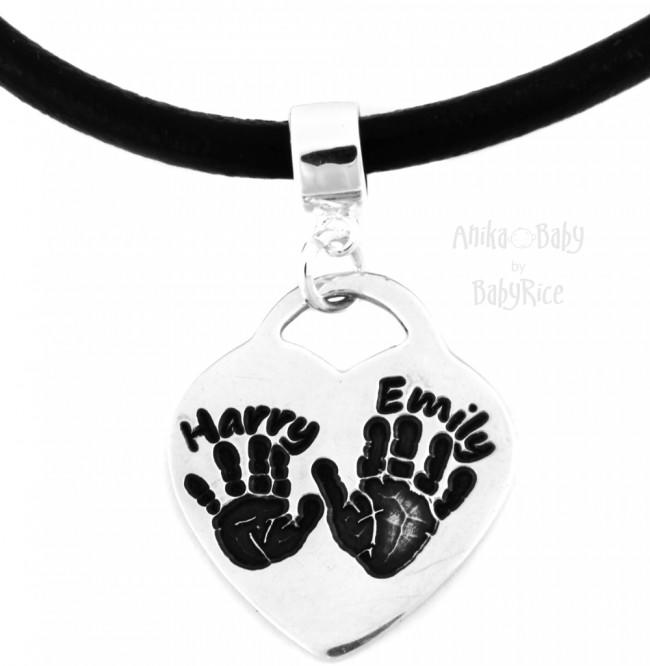 Child Baby Hand Footprint on Silver Heart Pendant & Black Leather Necklace (oxi)