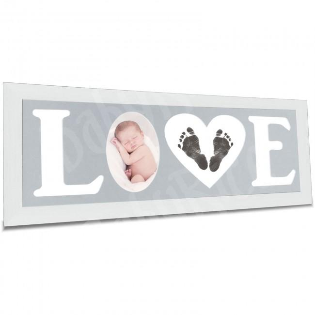 Baby Hand and Footprint Kit with Love Photo Picture Frame in Silver – Light Grey