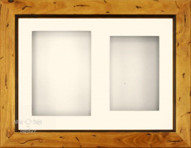 "11.5x8.5"" Rustic Pine Display Frame Cream 2 hole mount"