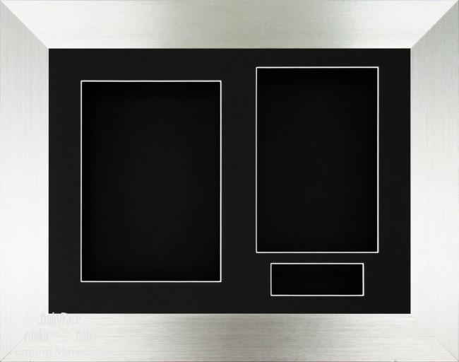 Brushed Silver 3D Display Box Frame Black