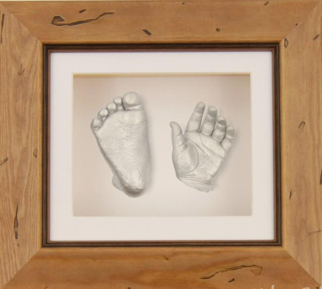 "Baby Casting Kit 6x5"" Rustic Frame Silver paint"