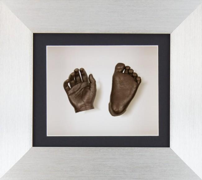 Baby Casting Kit Silver Frame Black White Display Bronze Casts