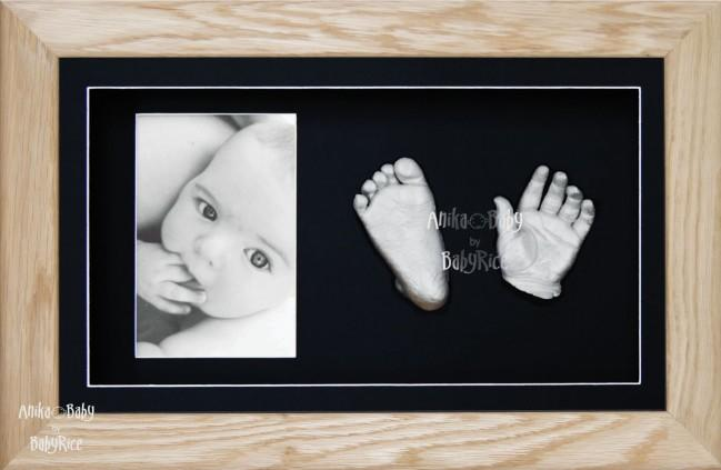 Solid Oak Wooden Frame, Baby Casting Kit, Silver Casts Keepsakes