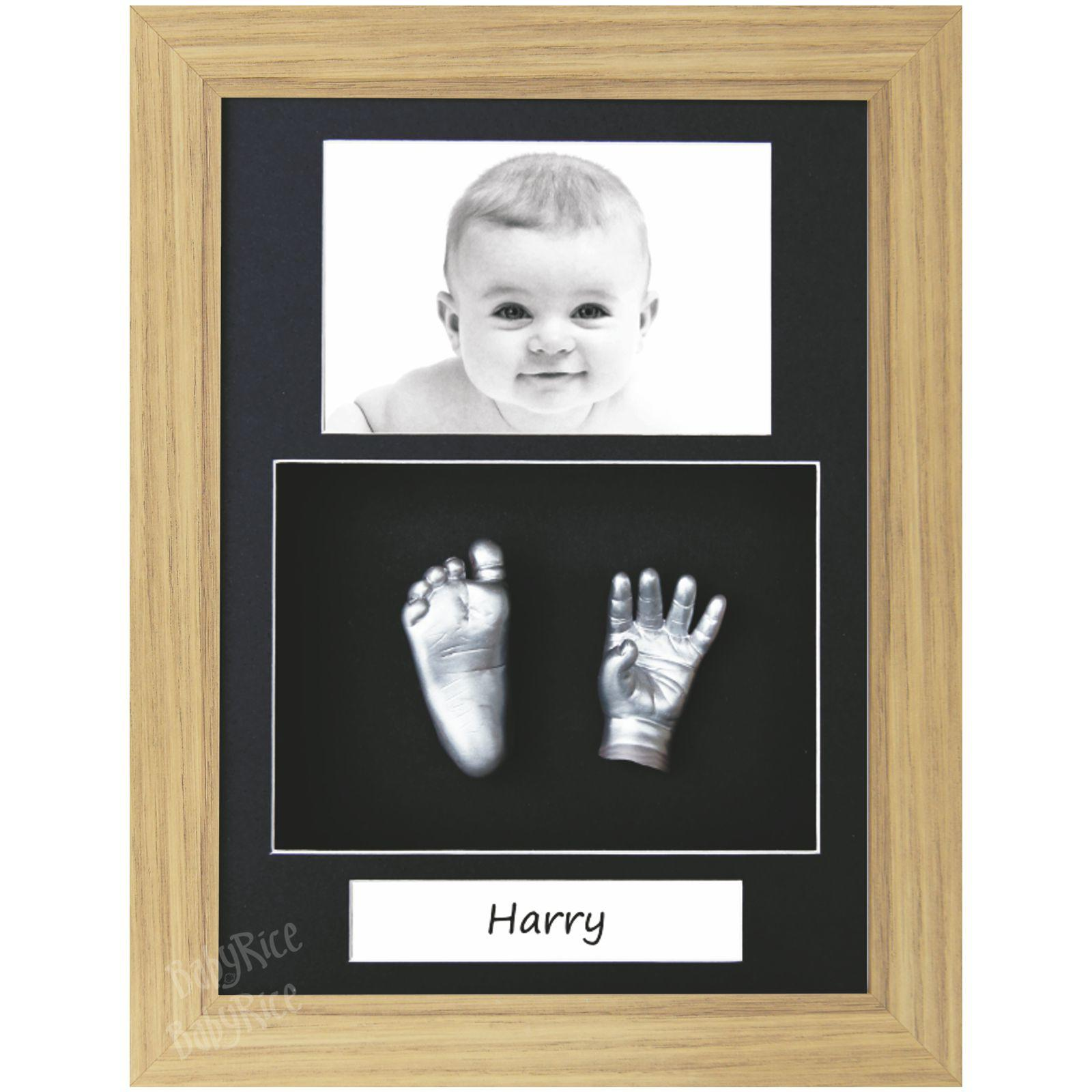 Baby 3D Casting Kit, Silver Hand and Foot Casts, Oak Frame
