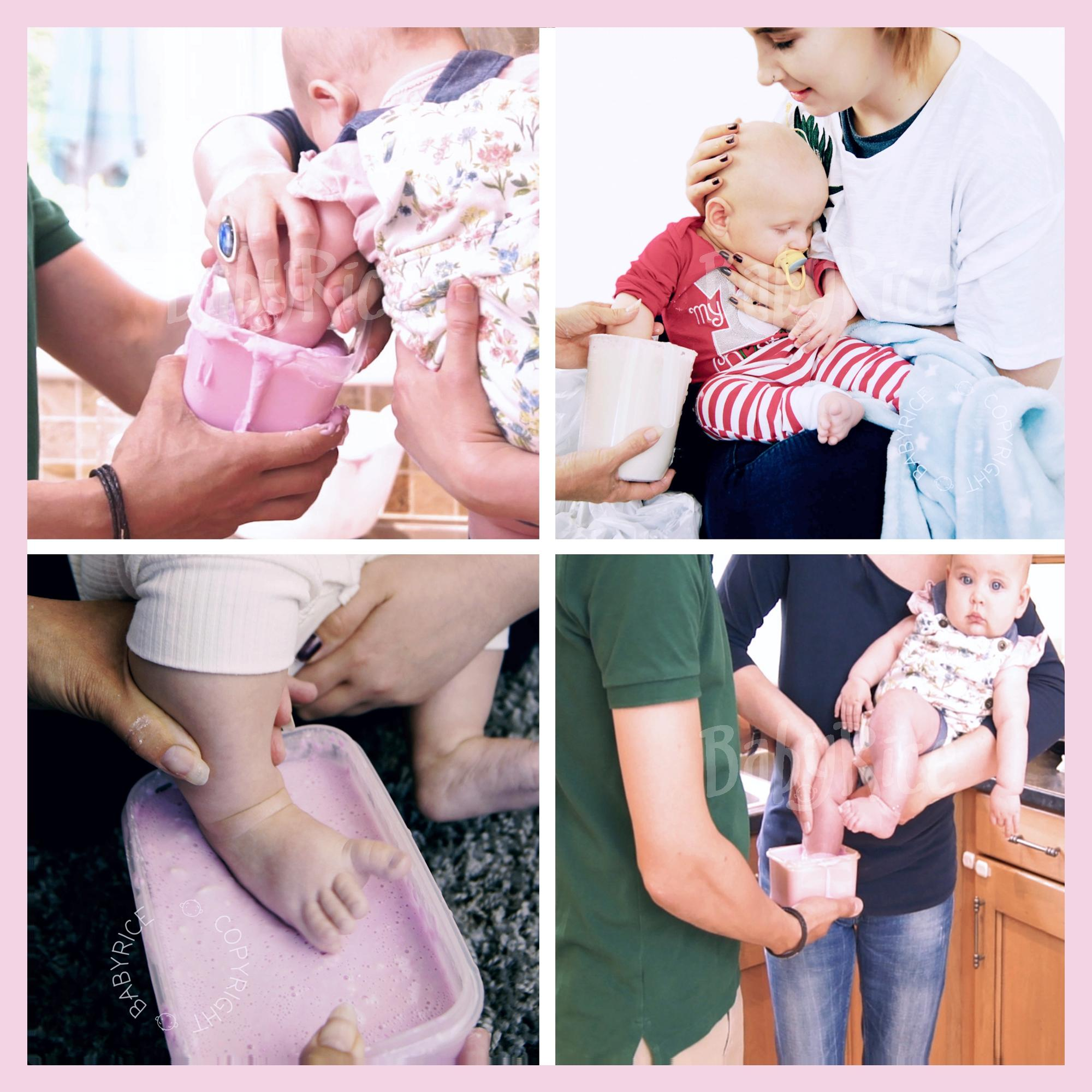 Immerse baby's hand or foot into the alginate to make the impression mould
