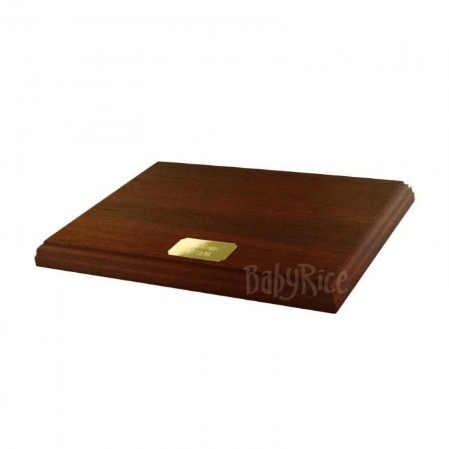 "Mahogany Display Plinth Base 10x8"" with Engraved Gold Plaque"