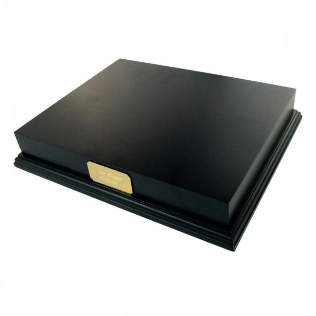 "Black Wooden Plinth Display 10x8"" & Engraved Gold Plaque"