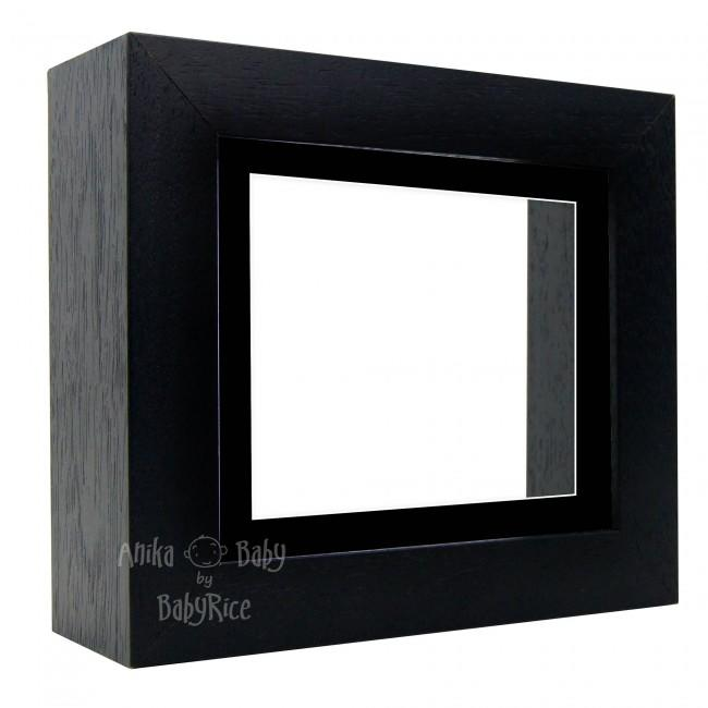 "Deluxe Black Deep Box Frame 6x5"" with Black Mount and White Backing"