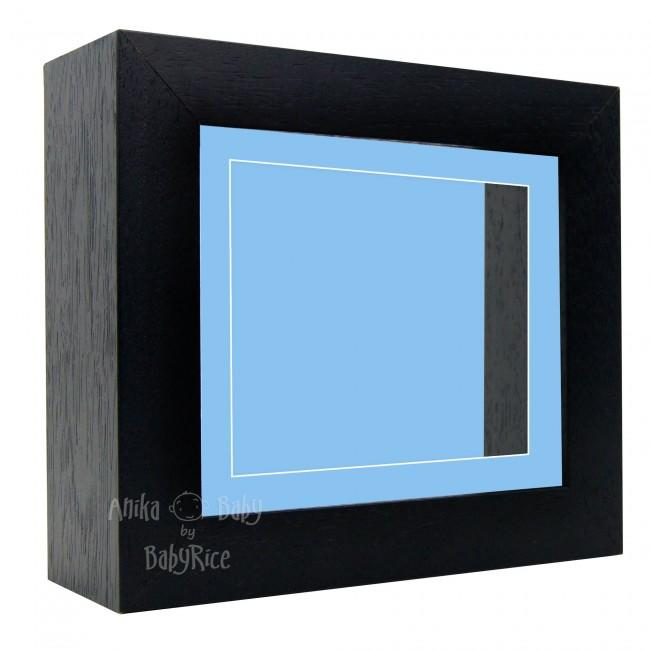 "Deluxe Black Deep Box Frame 6x5"" with Blue Mount and Backing"